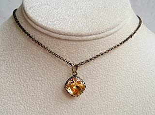 Golden Yellow Square Cushion Cut 12mm Crystal 18 Inch Necklace Simulated Light Topaz November Birthstone Gift Idea BR