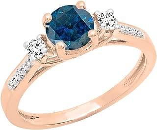 10K 6 MM Round Gemstone & Diamond Ladies Bridal 3 Stone Engagement Ring, Rose Gold