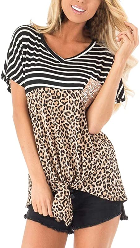 Onegirl Fashion Womens Leopard Short Sleeve Tops With Sequin Pocket V Neck Knot Hem Loose Blouses