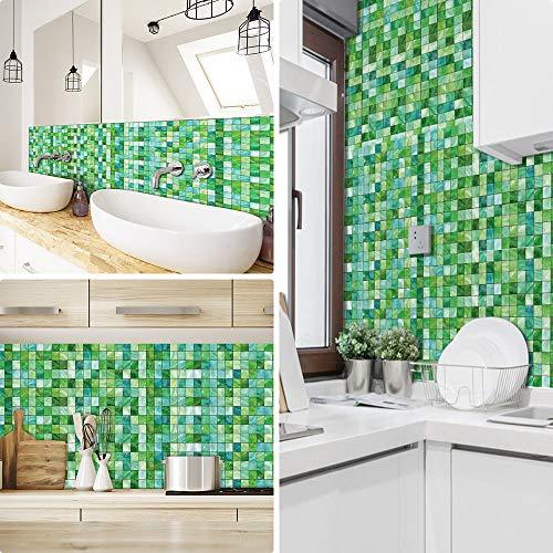 Ruifulex Pegatinas de Azulejos para Cocina Mosaico baños ladrillo escaleras Suelo 20x20 cm, Verde Papel simulación rueba de Aceite Vinilo Autoadhesivo Impermeable baldosas hidraulicas Actualizar