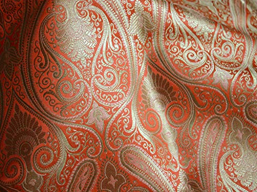 Peachy Orange Banaras - Tela de seda india