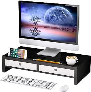 Monitor Stand Riser with Drawer - Desk Shelf Organizer,Keyboard Storage,Stylish Black,22