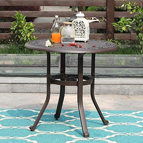 """MFSTUDIO 32"""" Outdoor Furniture Patio Bistro Table, Dining Coffee Tea Small Round Side End Tables for Garden, Backyard, Cast Aluminum with 1.97"""" Umbrella Hole, Dark Brown"""