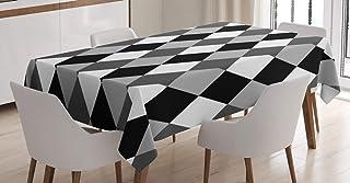 ABAKUHAUS Géométrique Nappe, Noir et Blanc Rhombus, Linge de Table Rectangulaire pour Salle à Manger Décor de Cuisine, 140...