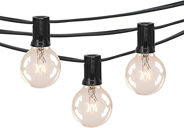 100Ft G40 Outdoor Patio String Lights Set With Clear Globe Bulbs UL List For Outdoor Commercial Decor Old Fashion Tiki Lights For Backyard Pergola Garden Bench Umbrella Black Same As Brightown