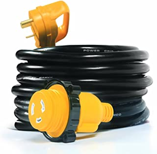 Camco 25' PowerGrip Extension Cord with 30M/30F- Straight Locking Adapter |  Allows for Easy RV Connection to Distant Power Outlets | Built to Last (55501)