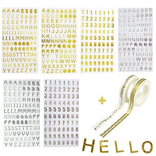 Adesivi glitterati a forma di numeri e lettere dell'alfabeto, colori oro e argento, confezione da 6fogli, con 2nastri adesivi decorati, per il fai da te