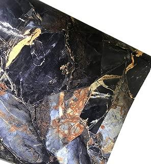 MULLSAN Dark Blue Marble Paper Adhesive Paper Gloss Granite Vinyl Wrap Kitchen Countertop Peel Stick Wallpaper Funiture Paper Decal 24inch by 118inch