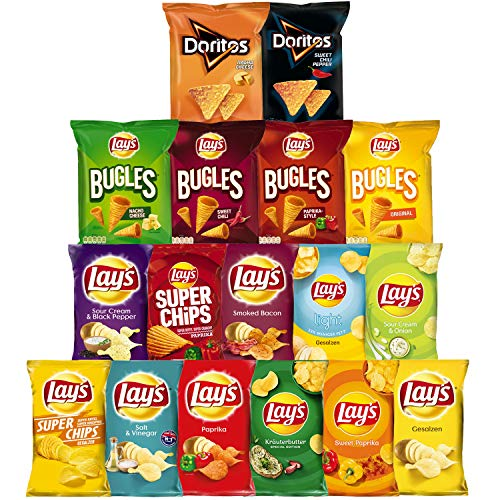 Lays Snacks Box – 11x Lay's Chips, 4x Lay's Bugles & 2x Doritos