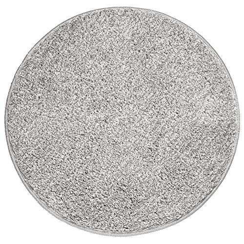 mDesign Soft Microfiber Polyester Non-Slip Round Spa Mat/Runner, Plush Water Absorbent Accent Rug for Bathroom Vanity, Bathtub/Shower, Machine Washable - 24' Diameter - Heather Gray