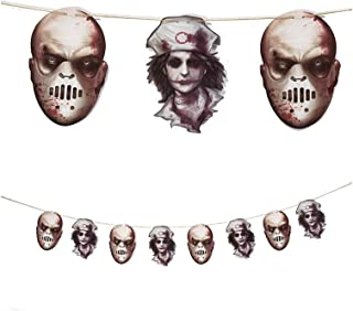 HOBULL Halloween Asylum Cut Out Decorations Nurse Horror Scary Metallic Butcher Knife Chainsaw Weapon Killer Tools Garland Party Decoration Haunted House Banner