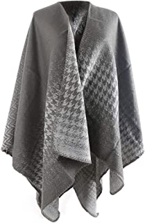 QZUnique Women's Blanket Winter Houndstooth Knitted Cardigans Scarf Shawl Poncho Cape