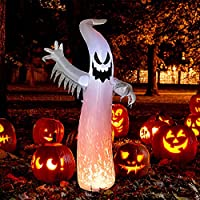 MUMTOP 8-Feet Halloween Ghost Inflatable with Build-in LED Lights (Red Ghost)