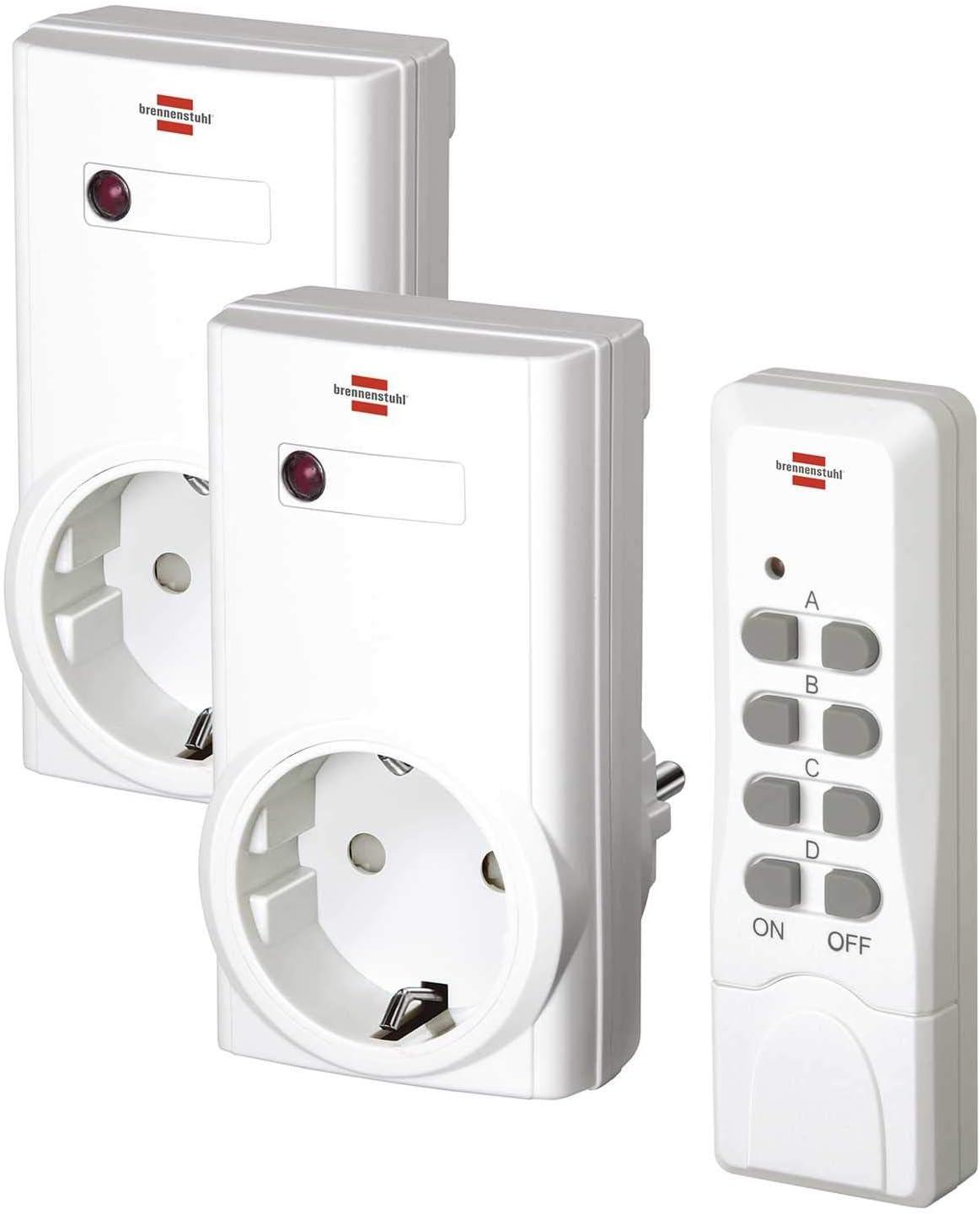 Brennenstuhl 1507150 Juego de interruptor inalámbrico, Blanco, Set de 4 Piezas