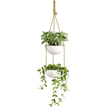 Mkono 9 Inch Ceramic Double Hanging Planter 2 Tier Round Flower Plant Pot Porcelain Hanging Basket with Polyester Rope Hanger for Indoor Outdoor Herbs Ferns Ivy Modern Vertical Garden, White