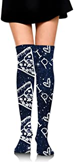 I Love Pizza Girls Crochet Thigh Calcetines altos sobre la rodilla Medias altas