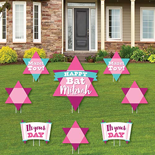 Big Dot of Happiness Pink Bat Mitzvah - Yard Sign and Outdoor Lawn Decorations - Girl Party Yard Signs - Set of 8