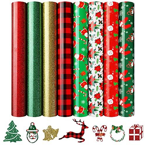 8 Hojas de Vinilo de Transferencia de Calor de Navidad Vinilo de Planchar con Purpurina HTV a Cuadros de Búfalo Rojo Negro Vinilo HTV Papá Noel Alce Hoja de Vinilo Surtida para Tela DIY