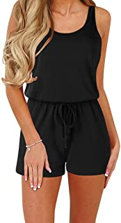 Women Summer Loose Solid Sleeveless Jumpsuit Rompers...
