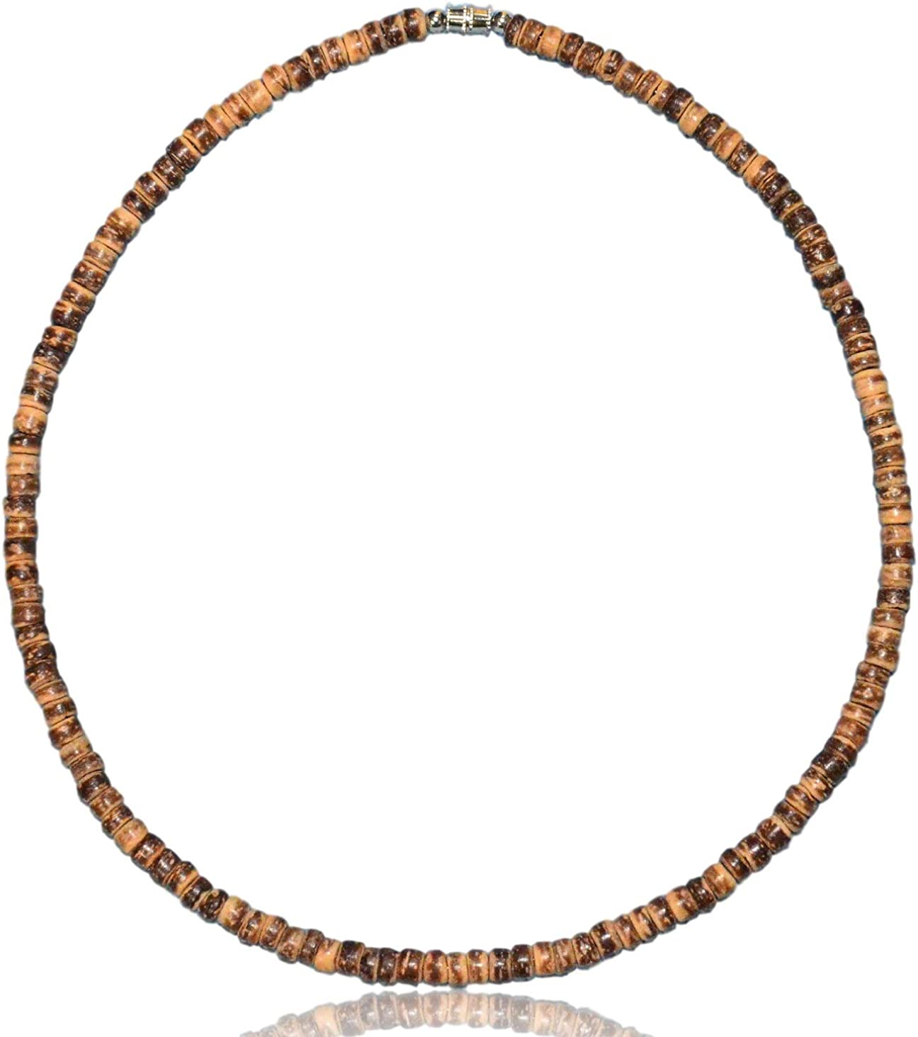 Native Treasure Brown Tiger Coco Shell Wood Bead Surfer Necklace - 5mm (3/16