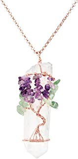 PESOENTH Natural Aventurine Amethyst Tree of Life Pendant Necklace Clear Quartz Reiki Healing Crystal Point Necklace Chakra Jewelry for Women