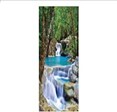 3D Decorative Film Privacy Window Film No Glue,Waterfall,Fairy Image of Asian Waterfall by The Rocks in Forest Secret Paradise Decorative,Green Blue Borwn,for Home&Office