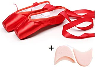 Windlia Satin Canvas Pointe Shoes with Ribbon and Gel Toe Pad Girls Ballet Dance Pointe Toe Shoes