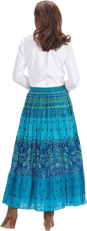 CATALOG CLASSICS Women's Peasant Skirt - Turquoise Blue Tiered Broom Maxi Skirt
