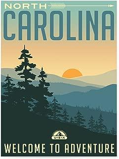 EzPosterPrints - Retro USA States Travel Poster Series- Poster Printing - Wall Art Print for Home Office Decor - North Carolina - 12X16 inches