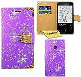 Nokia Lumia 530 Hülle, FoneExpert® Bling Luxus Diamant Hülle Wallet Hülle Cover Hüllen Etui Ledertasche Premium Lederhülle Schutzhülle für Nokia Lumia 530 + Bildschirmschutzfolie (Lila)