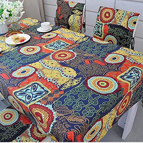 Nappe Lavable, Vintage dîner Pique-niquer Table Tissu Maison décoration sud-est Asiatique Ethnique Coton et Nappe en Lin,55x71inch(140 * 180cm)