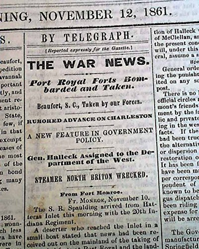 Rare DAVENPORT Iowa Civil War Era w/ Battle of Port Royal Sound 1861 Newspaper DAVENPORT DAILY GAZETTE, Iowa, November 12, 1861