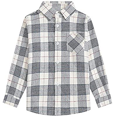 Girls Shirt, Casual Plaid Tops Long Sleeve Button Down Flannel Shirt for Girl, Gray Beige Plaid, 9-10Years = Tag 160