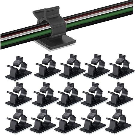 ケーブルクリップ、MAVEEK(マビーカ)4階段調節可能なケーブルホルダー コードクリップ コードフック ケーブル収納 コード管理 結束固定ベース 粘着シート付 ケーブル固定具