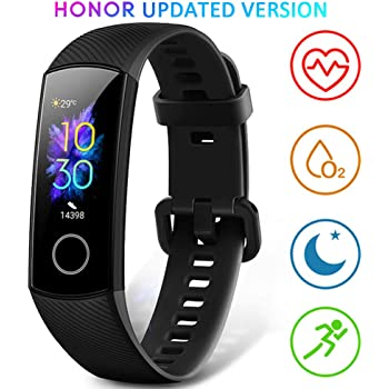HONOR Band 5 Smart Wristband/Fitness Tracker with Heartrate Monitor, Blood Oxygen Sensor, Calorie Tracker, Sleep Tracking and Full Colour Touch Screen – Water Resistant up to 50m – Black