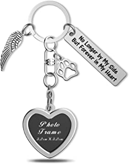 إطار صورة سلسلة المفاتيح مكتوب عليه No Longer by My Side but Forever in My Heart من Pet Memorial Jewelry No Longer by My S...