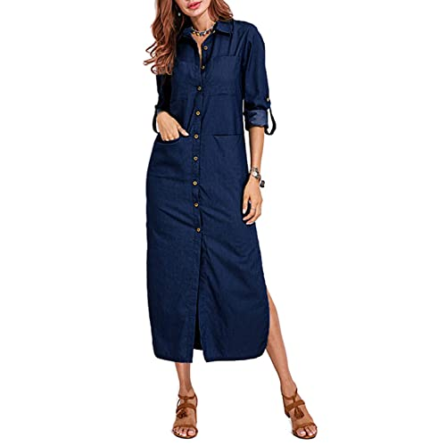 889a1264dd4 VONDA Womens Cuffed Sleeve Button Down Slit Hem Denim Shirt Dress with  Pockets