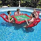 XYLUCKY Asiento Inflable Tabla Flotante Piscina Flotante Fila Agua Juego de Mesa Juguetes Sillas con 4 sillas flotantes, 1 Impermeable Salta el Juego, 1 Impermeable Poker