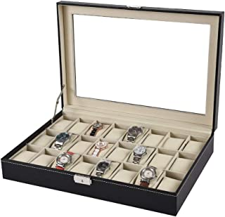 Lwieui Caja de Reloj Relojes 24 Ranuras de Madera con Cerradura Mostrar Caja de Almacenamiento con Tapa de Vidrio PU Caja ...