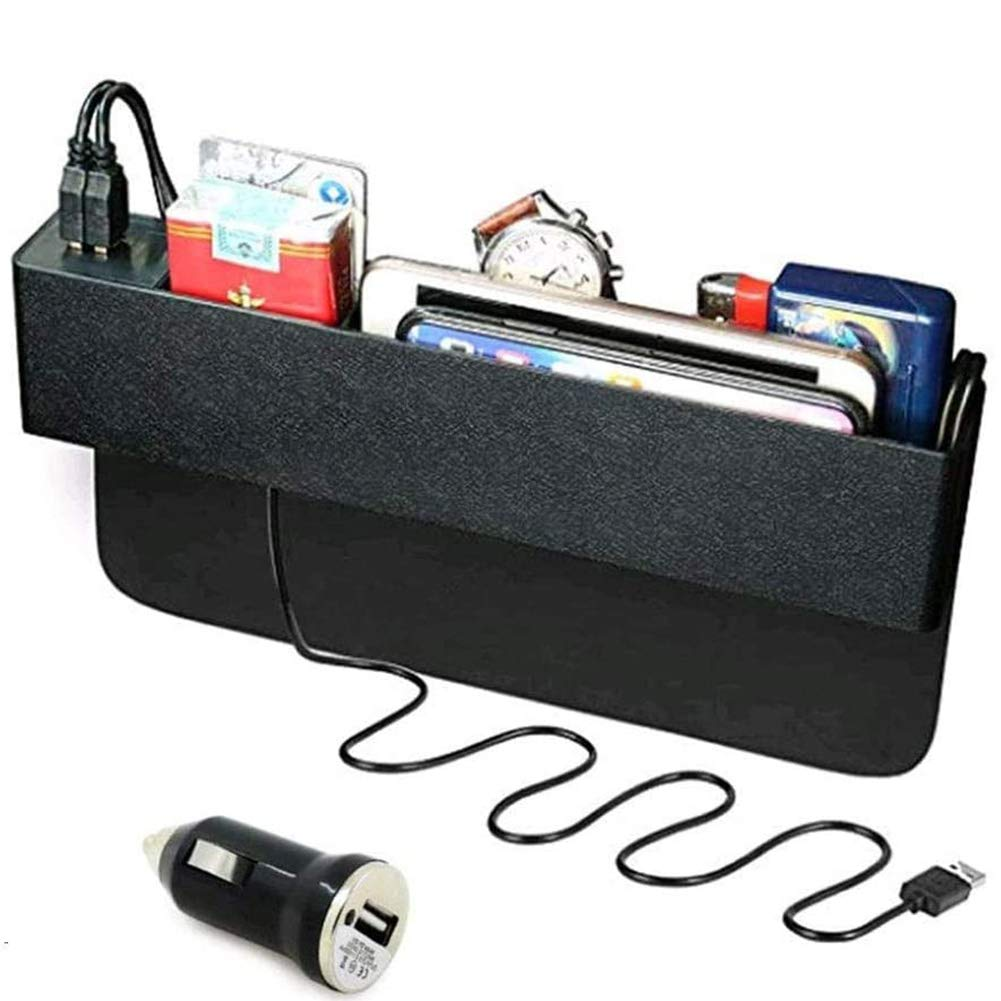 Black Multifunctional Car Seat Right Side Gap Storage Box Phone Coins Organizer