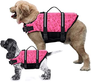 Bumlon Gtpeak Dog Life Jackets Swimming Vests Safe Flotation Devices, Adjustable Reflective Swimsuit, Easy Grab Handle, Preserver Lifesaver Large Medium Small