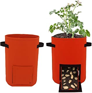 yardly Reusable Grow Bags with Innovative No Mess Harvest Chute Design - 10 Gallon Fabric Plant Pot - Felt Cloth Lined Pla...