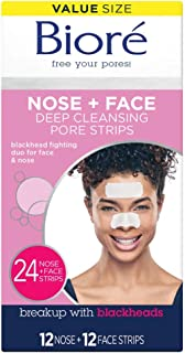 Bior� Nose Face, Deep Cleansing Pore Strips, 24 Ct Value Size, 12 Nose + 12 Face Strips for Chin or Forehead, Instant Blackhead Removal & Pore Unclogging, Oil-free, Non-Comedogenic, Packaging May Vary