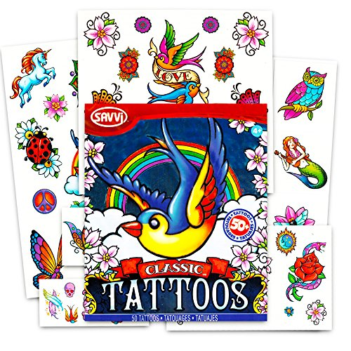 Set of 50 Temporary Tattoos, Classic