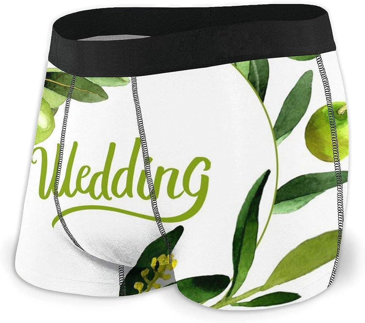 Randolph Wordsworth Mens Boxer Briefs Olive Tree Wreath Vector Wedding Breathable Underwear
