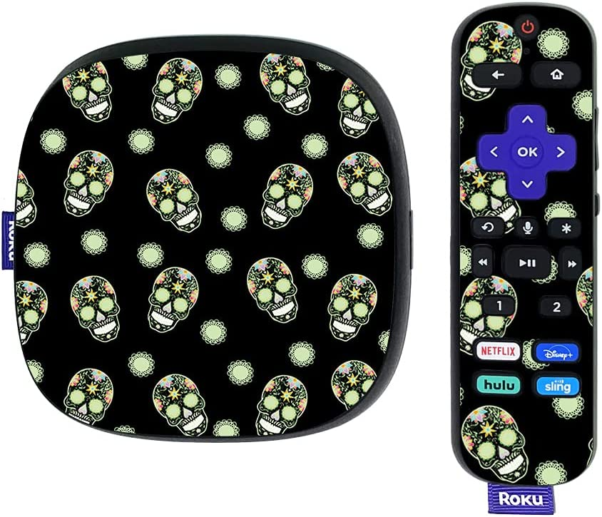 MightySkins Skin Compatible with Roku Ultra HDR 4K Streaming Media Player (2020) - Nighttime Skulls | Protective, Durable, and Unique Vinyl Decal wrap Cover | Easy to Applys | Made in The USA