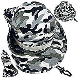 ZffXH Tattico Militare Boonie Cappello per Uomini Donne Cowboy Camo Caccia Pesca Cap Sun Upf Protezione, Grigio, L