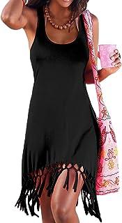 pinziko Women's Summer Beach Dress Bikini Cover Up Casual Vacation Short Dresses