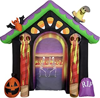 Gemmy 8.6 Feet Tall Living Projection Halloween House Archway Inflatable + LightShow Projector Set Indoor/Outdoor Holiday ...