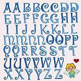 MIWIND 52 parches para planchar con letras del alfabeto bordadas para coser en parches de letras para decorar mochilas, camisetas, vaqueros, faldas, sombreros, ropa, etc. 25 mm (azul)